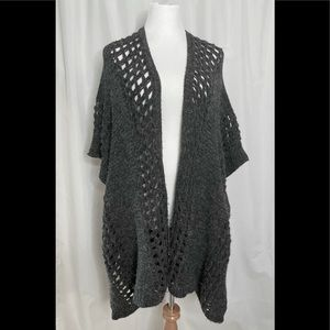 Do Everything In Love gray crocheted open poncho